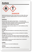 Acetone Danger Large GHS Chemical Label