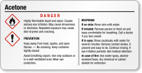 Acetone Danger Tiny GHS Chemical Label