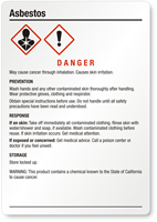Asbestos Danger Medium GHS Chemical Label