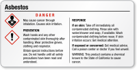 Asbestos Danger Small GHS Chemical Label