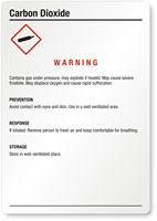 Carbon Dioxide Warning Medium GHS Chemical Label