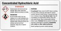 Concentrated Hydrochloric Acid Small GHS Chemical Label