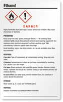 Ethanol Danger Large GHS Chemical Label
