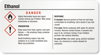 Small Ethanol Danger GHS Chemical Label