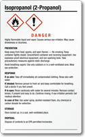 Isopropanol Danger Large GHS Chemical Label