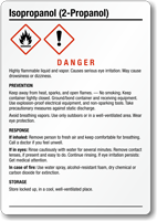Isopropanol Danger Medium GHS Chemical Label