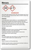 Mercury Danger Large GHS Chemical Label