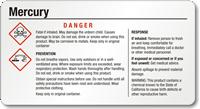 Small Mercury Danger GHS Chemical Label