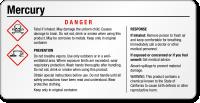 Mercury Danger Small GHS Chemical Label