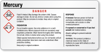 Mercury Danger Tiny GHS Chemical Label