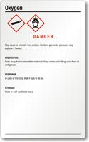 Oxygen Danger Large GHS Chemical Label