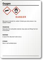 Oxygen Danger Medium GHS Chemical Label