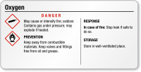 Oxygen Small GHS Chemical Danger Label