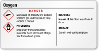 Oxygen Danger Tiny GHS Chemical Label