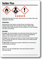 Solder Flux Chemical GHS Label, 5in. x 3.5in.