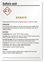 Sulfuric Acid Danger Medium GHS Chemical Label