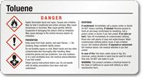 Toluene Small Danger GHS Chemical Label
