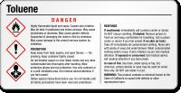 GHS Toluene Danger Small Chemical Label