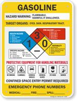 Gasoline Hazard Warning Sign