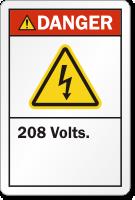 208 Volts ANSI Danger Label, Electric Shock Symbol