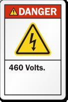 460 Volts ANSI Danger Label