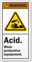 Acid Wear Protective Equipment ANSI Warning Label