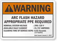 Arc Flash Hazard PPE Required Custom ANSI Warning Label