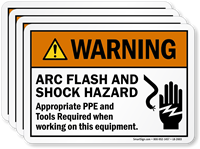 Arc Flash Shock Hazard PPE Tools Required Label