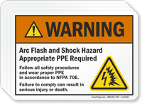 Arc Flash And Shock Hazard, PPE Required Label