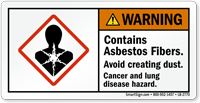 Contains Asbestos Fibers Avoid Creating Dust Warning Label