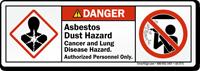 Asbestos Dust Cancer Lung Disease Hazard Label