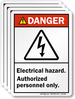 Electrical Hazard, Authorized Personnel Only ANSI Danger Label