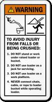 Avoid Injury From Falls Operating Loader Warning Label