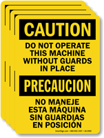 Bilingual Do Not Operate Machine Without Guards Label