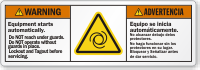 Bilingual Equipment Starts Automatically ANSI Warning Label