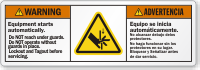 Bilingual Equipment Starts Automatically Lockout/Tagout Warning Label