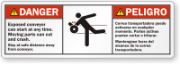 Bilingual Exposed Conveyor Can Start ANSI Danger Label