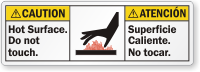 Bilingual Hot Surface Do Not Touch Caution Label