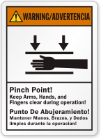 Bilingual Pinch Point Keep Arms Clear Warning Label