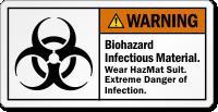 Biohazard Infectious Material Wear Hazmat Suit Warning Label