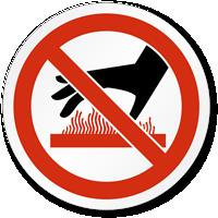 Burn Hazard/Hot Surface Underneath Symbol, ISO Prohibition Label