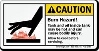 Burn Hazard Hot Tank And Oil Caution Label