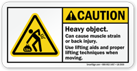 Caution, Heavy Object, Use Lifting Aids Label