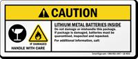 Caution Lithium Metal Batteries Inside Label
