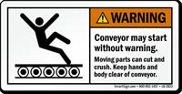 Conveyor May Start Without Warning Label
