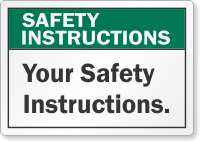 Custom Safety Instruction Label