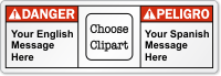 Customizable Bilingual Text ANSI Danger Label, Choose Clipart