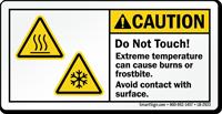 Cvaution, Do Not Touch, Frostbite Hazard Label