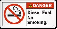 Diesel Fuel, No Smoking ANSI Danger Label