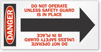 Do Not Operate Danger Arrow Label